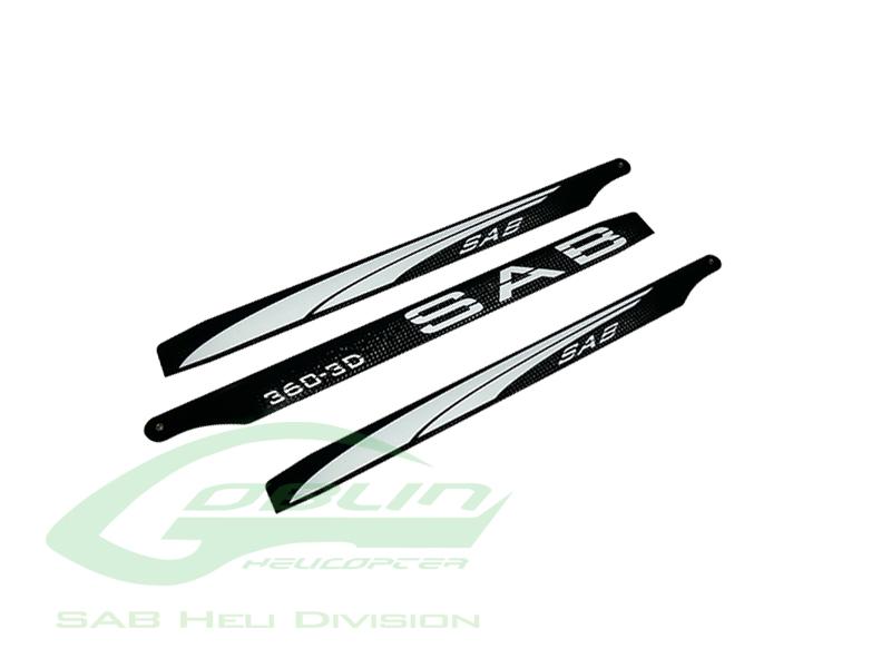 3BL360-3DW – Black Line Carbon Fiber Main Blades 360mm – Goblin 380 KSE