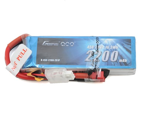 Gens Ace 2s LiPo RX Battery Pack 45C w/Deans (7.4V/2200mAh)